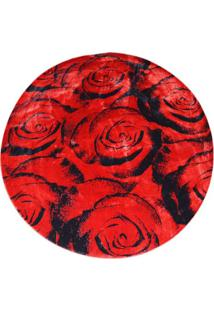 Tapete Veludo Redondo Marbella Boreal 150 Cm Rosas Red