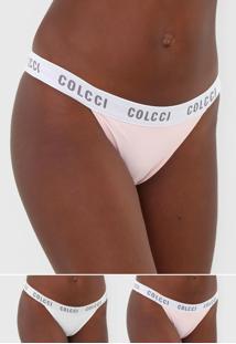 Kit 2Pã§S Calcinha Colcci Underwear Fio Dental Lettering Branco/Rosa - Branco - Feminino - Poliamida - Dafiti