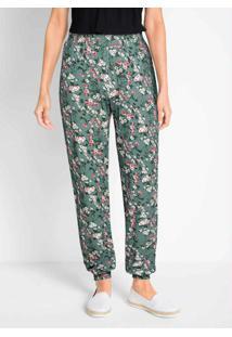 Calça Comfort Com Elástico Floral Verde
