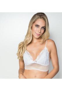 Sutiã Click Chique Renda E Telinha - Feminino-Branco