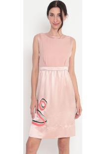 Vestido Em Seda Abstrato - Rosê & Cinza - Alexandre Alexandre Herchcovitch