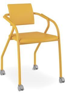 Cadeira Para Escritório 1713, Corino Amarelo Ouro