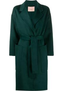 Twin-Set Sobretudo Oversized Com Transpasse - Verde