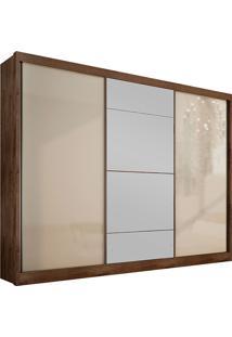 Guarda-Roupa Casal Com Espelho 3 Portas E 8 Gavetas Natus Gold -Novo Horizonte - Canela / Off White