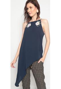 Blusa Assimã©Trica Com Patchs - Azul Marinho & Brancalinho Fino