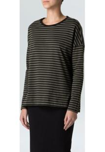 Blusa Ml Basic Stripe-Militar/ Preto - P