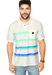 Camisa Polo Mc Hang Loose Colorstripe Off-White