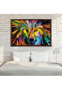 Quadro Love Decor Com Moldura Lobo Colorido Madeira Escura - Médio