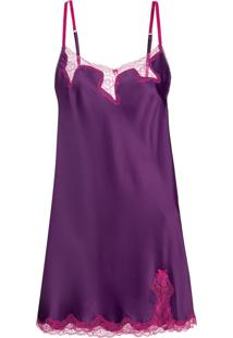 Camisola Curta Sem Manga Cetim Bella Luna Purple