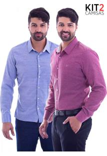 Kit 2 Camisas Slim Fit Live Luxor - Azul Jeans E Marsala-G