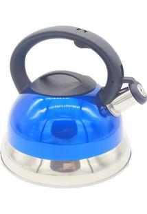 Chaleira Inox 3 Litros Fundo Triplo Com Apito - Chaleira Reforçada - Azul