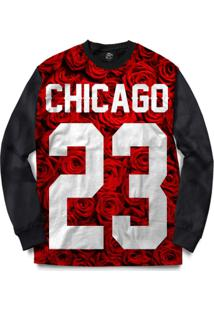 Blusa Bsc Chicago 23 Red Rose Full Print - Masculino-Preto