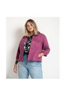 Jaqueta Jeans Com Barra Desfiada Curve & Plus Size Roxo