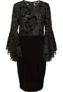 Badgley Mischka Lace Ruffle Sleeve Cocktail Dress - Preto