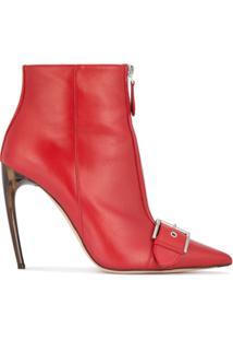 Alexander Mcqueen Ankle Boot 'Horn Heel' - Vermelho