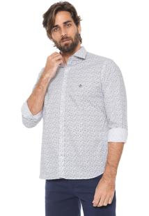 Camisa Dudalina Slim Floral Branca/Azul
