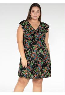 Vestido Curto Floral Com Babado Plus Size