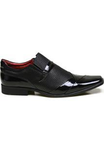 Sapato Social Em Couro Com Textura Calvest - Masculino-Preto