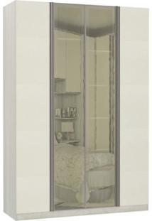 Guarda Roupa Modulado Espelhos Reflecta 4 Portas Emolduradas 3 Gavetas Nichos Colmeia 159Cm Prime Luciane Móveis Legno Crema/Kashmir