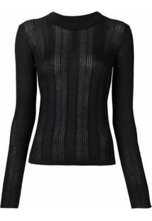 Barrie Suéter Com Recorte De Renda - Preto