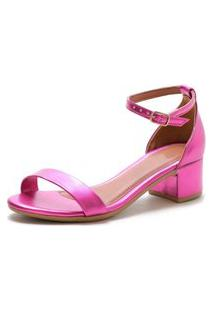 Sandalia Salto Grosso Lafiume Metalizada Pink