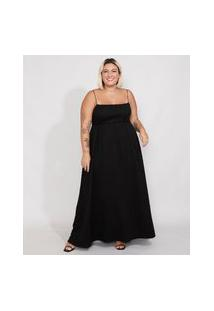 Vestido Feminino Plus Size Mindset Longo Império Texturizado Alça Fina Preto