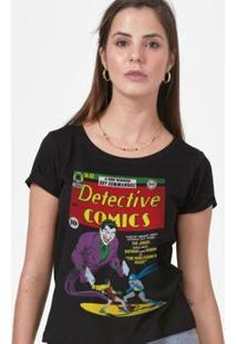 Camiseta Batman Capa Coringa Feminina - Feminino-Preto