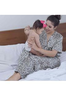 Pijama Em Cetim Estampa Militar M - Ae09 Dica De Lingerie