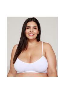 Sutiã Feminino Plus Size Demillus Top Sem Costura Branco