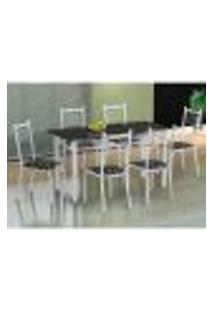 Conjunto De Mesa Com 6 Cadeiras Lisboa Branco Liso E Preto Floral