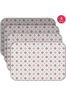 Jogo Americano Love Decor Wevans Quadrados Kit Com 4 Pçs