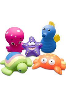 Jogo De Brinquedos Para Banho Animais Marinhos - Rosa & Comtac