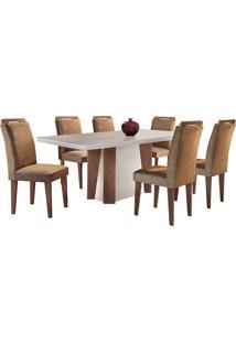Conjunto De Mesa Para Sala De Jantar Tampo De Vidro Helena Com 6 Cadeiras Athenas-Rufato - Animalle Chocolate / Off White / Café