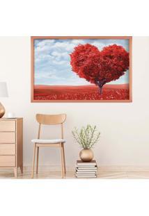 Quadro Love Decor Com Moldura Heart Tree Rose Metalizado Médio