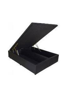 Cama Box Baú Bipartido Master Casal 138 X 188 Corino Preto (Tampo Inteiro)