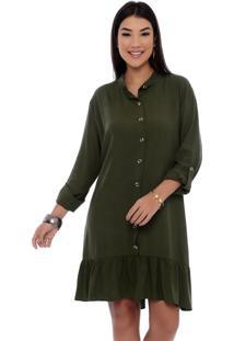 Vestido Chemise B'Bonnie Rebeca Verde Militar