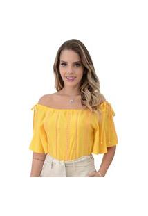 Blusa Mamorena Ombro Com Amarraçã Amarelo