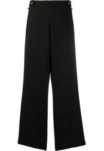 Ps Paul Smith Calça Pantalona Com Estampa De Poás - Preto