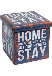Puff De Pvc Com Tampa 38Cm Home Azul Coisas Coisinhas