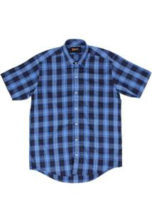 Camisa Fast Back Xadrez Masculina - Masculino-Azul Escuro