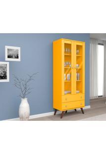 Estante Cristaleira Portas Com Vidro 2 Gavetas About Home - Amarelo - Multistock