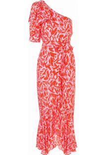 Veronica Beard Vestido Vie Assimétrico Com Estampa Corrida - Vermelho