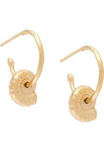 Natalie Perry Par De Brincos Ammonite Com Pingente - Dourado