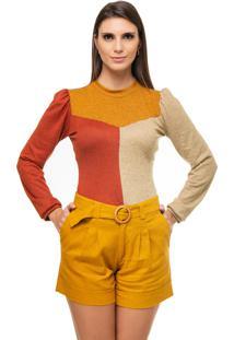 Blusa Pele Macia De Malha Multicolorida