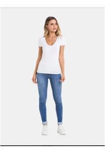 Camiseta Lunender Básica Manga Curta Malha Feminina - Feminino-Branco