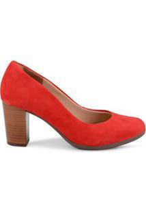 Scarpin Alto Nobuck Royal Comfort Vermelho Vermelho/39