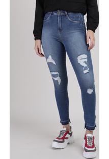 Calça Jeans Feminina Sawary Super Skinny Heart Cintura Média Destroyed Azul Médio