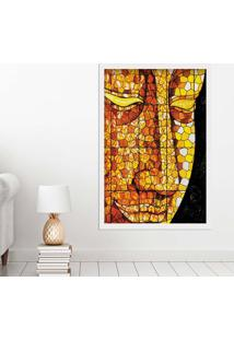 Quadro Love Decor Com Moldura Buddha Em Mosaico Branco Grande