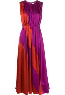 Roksanda Vestido De Seda Color Block Cora - Vermelho