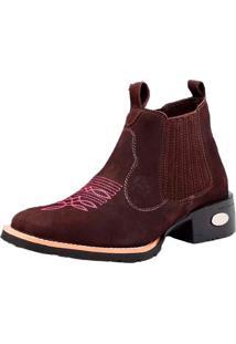 Bota Botina Em Couro Bico Quadrado Snap Shoes Marrom